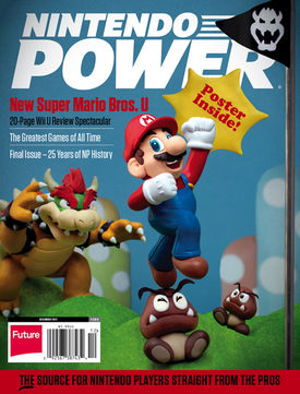 The final issue of Nintendo Power, paying homage to the first issue's cover picture
