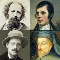 four head and shoulders portraits of British poets