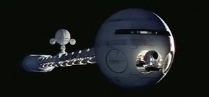 2001: A Space Odyssey, the landmark 1968 collaboration between filmmaker Stanley Kubrick and classic science fiction author Arthur C. Clarke featured groundbreaking special effects, such as the realization of the space ship Discovery One (pictured here) Discovery1b.JPG