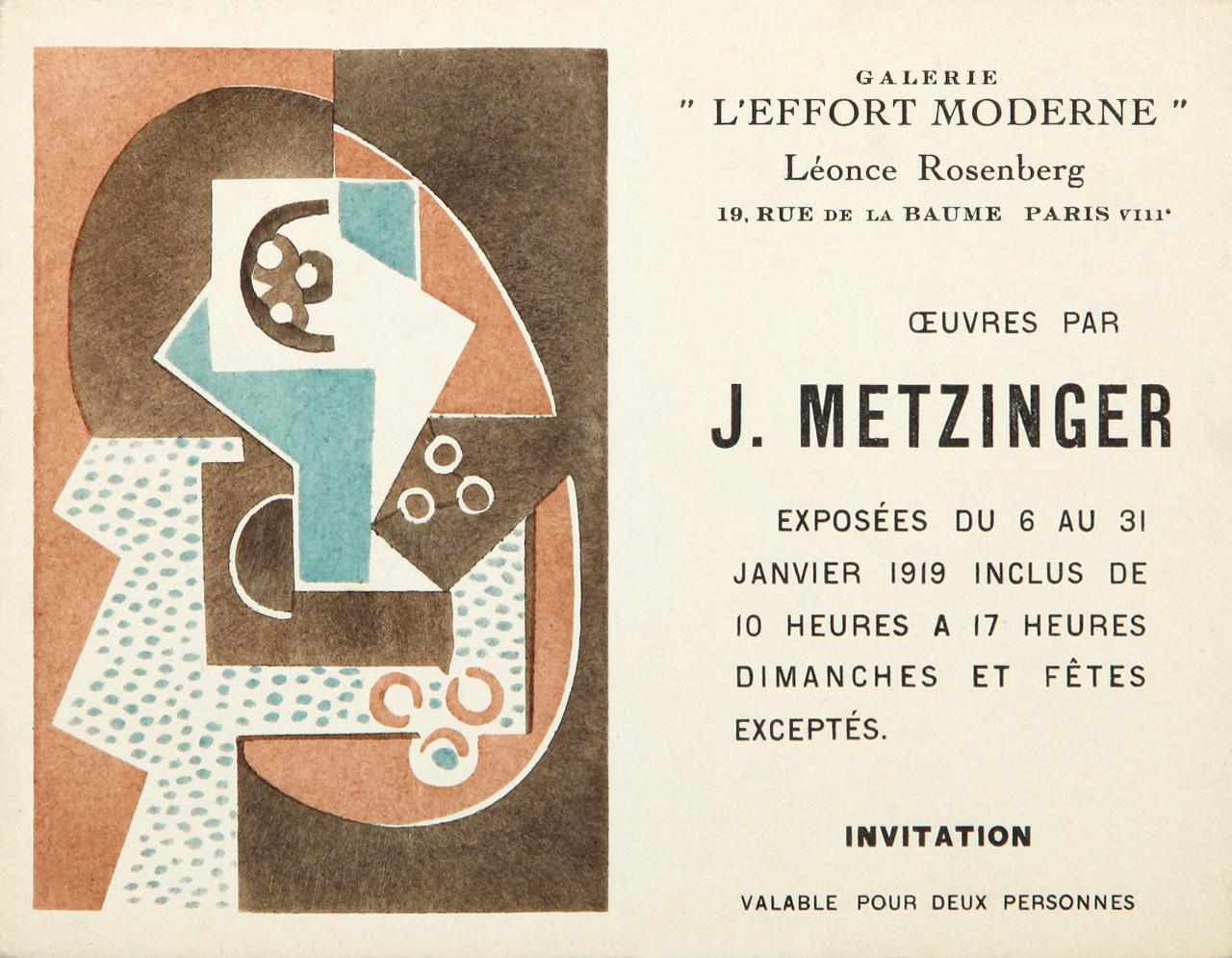 File Jean Metzinger Invitation Card Léonce Rosenberg