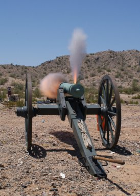Mountain howitzer firing