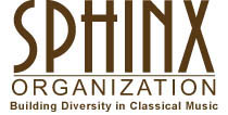 "Logo in brown and black type with the organization motto below ""Building Diversity in Classical Music"""