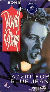 "The cover of the VHS video box, showing 1984-era Bowie singing in character make-up as ""Screaming Lord Byron"""