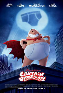 Film poster showing Captain Underpants, standing on top of a building. A moon showing a silhouette of an underwear.