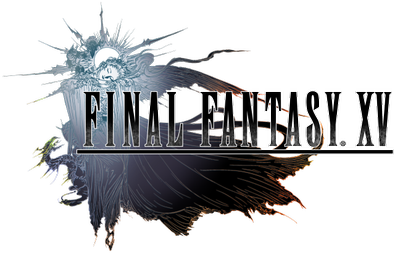 The logo of Final Fantasy XV: designed by Yoshitaka Amano and incorporating the game's themes, the logo survived almost unchanged through the game's development. Final Fantasy XV logo.png