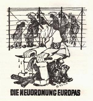 "Polish resistance satirical poster - ""New European Order"" (German: Die Neuordnung Europas) - Polish reaction to Hitler's plans to establish a ""new order"" in Europe, under the domination of Nazi Germany. In the middle: Adolf Hitler; background: imprisoned European nations (France, Bulgaria, the Netherlands, Yugoslavia, Belgium, Greece, Poland, Hungary) New European Order.jpg"