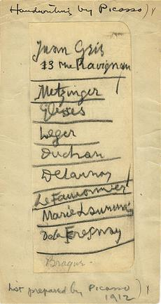 A list written in 1912 by Pablo Picasso of European artists he felt should be included in the 1913 Armory Show. This document dispels the assertion that an unbridgeable divide separated the Salon Cubists from the Gallery Cubists. Walt Kuhn family papers and Armory Show records, Archives of American Art, Smithsonian Institution.