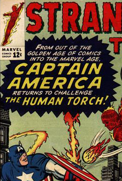Comic-book cover, with red-white-and-blue Captain America defeating the red Human Torch