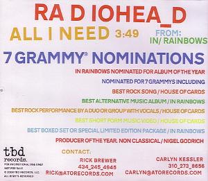 All I Need (Radiohead song) single by Radiohead