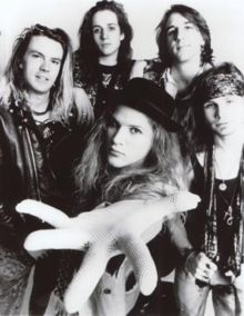 Andrew Wood (front) with Mother Love Bone in 1989