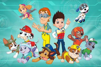 The illustrated designs of the entire PAW Patrol team as of Tracker's introduction.