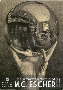 Poster advertising the first major exhibition of Escher's work in Britain (Dulwich Picture Gallery, 14 October 2015 - 17 January 2016). The image is based on Hand with Reflecting Sphere, 1935. Escher Poster Dulwich Picture Gallery 2015.jpg