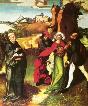 Bernard exorcising a possession, altarpiece by Jorg Breu the Elder, c. 1500 Jorg Breu Sr St Bernhard Zwettl.jpg