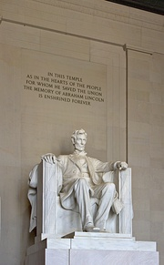 Daniel Chester French's sculpture inside the Lincoln Memorial