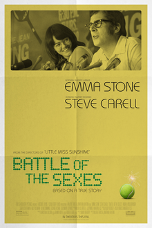 The upper half of the poster shows a sepia toned image, of a man and a woman speaking at before a bank of microphones. Below a tennis ball.