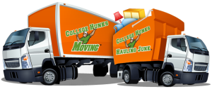 College Hunks Hauling Junk and College Hunks Moving - Dual Truck Cartoon Logo of a Moving Company Truck and a Junk Removal Company Truck.png