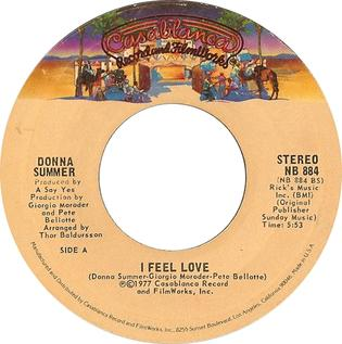 I Feel Love original song written and composed by Donna Summer, Giorgio Moroder, Pete Bellotte