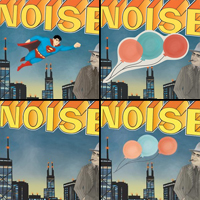 A montage of close-ups from the various covers to Illinois: in the top left corner, Superman is displayed flying over Chicago; to the right, that image is covered by balloons pasted onto the album cover; in the bottom left corner, there is simply a grey sky above the city; and in the final quadrant, balloons are painted onto the image itself.