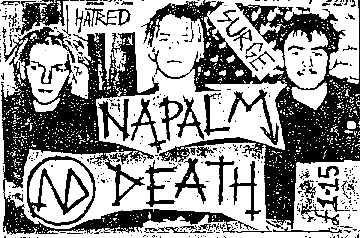 Cover for the Hatred Surge demo recording from 1985. From left-right: Justin Broadrick, Nicholas Bullen, Mick Harris Napalm HatredSurge.jpg