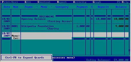 Quicken 8 for DOS circa 1995. Image from Wikimedia.org.