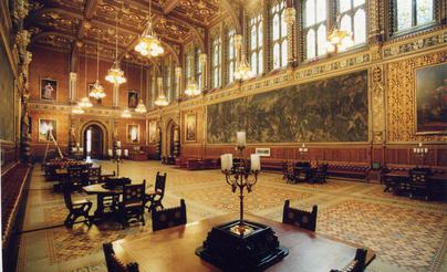 houses of parliament interior. Following the rapid decay of Maclise s first two frescoes  rest Royal Gallery walls were left unpainted Palace Westminster Wikipedia