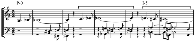 Hexachord invariance in Schoenberg's Concerto for Violin.Haimo (1990), p.27. The last hexachord of P0 (C C<!-- music --> G A<!-- music --> D F) contains the same pitches as the first hexachord of I5 (D C<!-- music --> A<!-- music --> C G F).