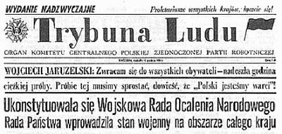 Trybuna Ludu 14 December 1981 reports martial law in Poland TrybunaLudu3.png