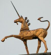 Gilt statue of a unicorn on the Council House,...