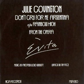 Dont Cry for Me Argentina 1976 single by Julie Covington