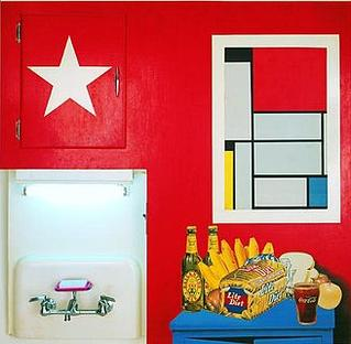 """Still Life #20"" combines elements as diverse as advertising images, an actual faucet and kitchen cabinet, and a reproduction of a painting by De Stijl art movement painter Piet Mondrian."" 'Still Life -20', mixed media work by --Tom Wesselmann--, 1962, --Albright-Knox Gallery--.jpg"