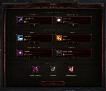 Diablo III's skills window. depicting the abilities of the wizard class D3-skills.jpg