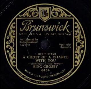 I Dont Stand a Ghost of a Chance with You Bing Crosby song composed by Victor Young, and lyrics by Crosby and Ned Washington