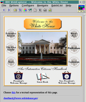 IBM WebExplorer displaying the White House Website