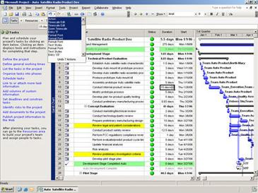 Microsoft Project 2007 showing a simple Gantt ...
