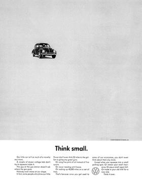 "VW's classic ""Think Small"" campaign ad"