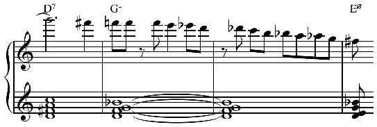 "One of seven examples of linear chromaticism from Dizzy Gillespie's solo from ""Hot House"" Play (help*info) or Listen on YouTube. Dizzy Gillespie - ""Hot House"" solo - linear chromaticism.png"