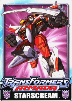 Trading card with Starscream in theatrical battle-pose, one leg up, fist clenched, other hand brandishing sword-style weapon ahead of body, purple starburst effect behind