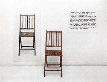 Joseph kosuth's 'one and three chairs' is an example of