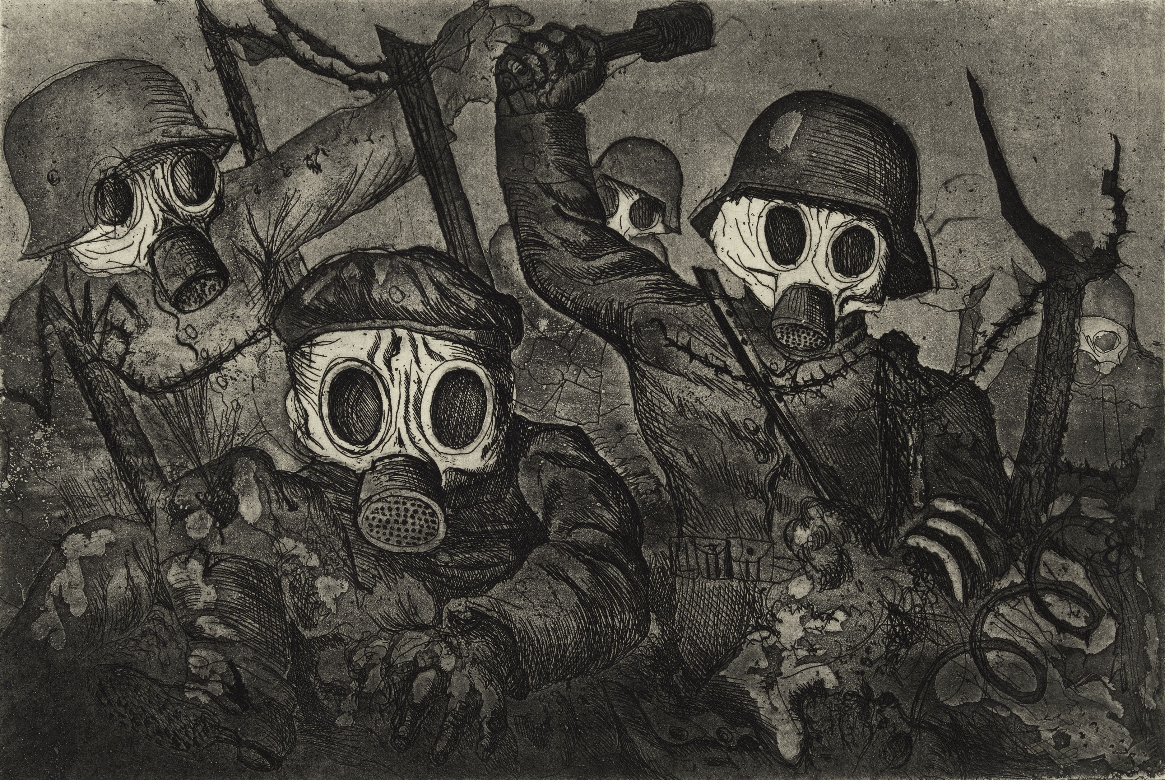 File:'Stormtroops Advancing Under Gas', etching and aquatint by ...