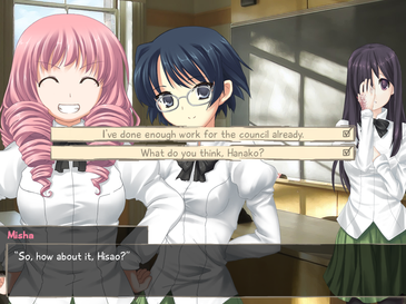 Katawa Shoujo   Wikipedia Wikipedia Different dialogue choices lead to new branching paths and endings  Characters shown  from left to right   Misha  Shizune  and Hanako