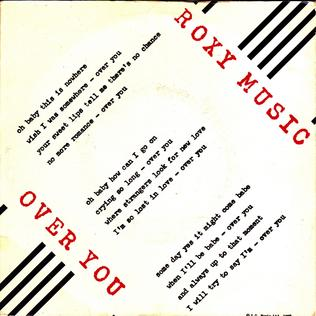 Over You (Roxy Music song) single