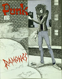 April 1976 issue of Punk. The cover image of Joey, by Punk cofounder John Holmstrom, was inspired by the work of comic book artist Will Eisner. Holmstrom would go on to do album art for Rocket to Russia and Road to Ruin. PunkMagazine.jpg