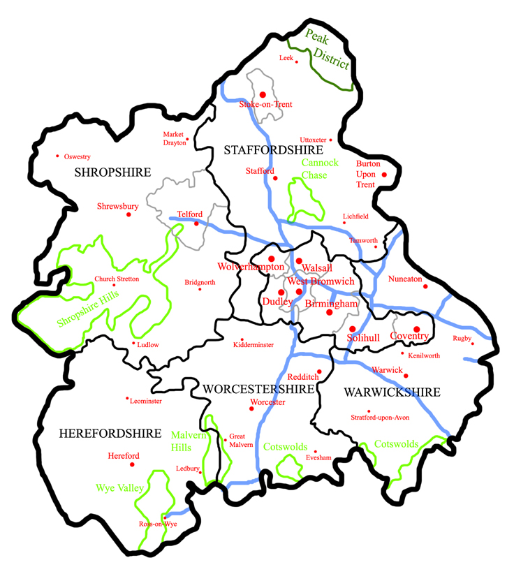 a map of the west midlands region showing townscities in red motorways in blue aonbs in light green and national parks in dark green