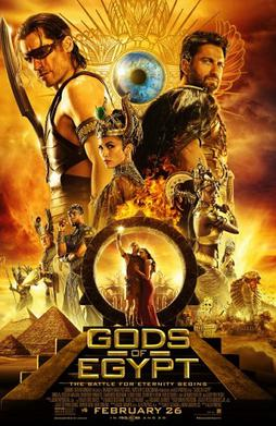 Against a backdrop of Egyptian pyramids, an ensemble cast of Egyptian gods and humans on differing scales pose.