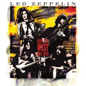 Mixed-media stencil portrait of Led Zeppelin