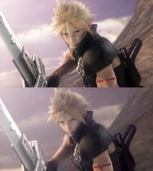 In addition to new scenes and a higher visual quality, the director's cut added new details. In this example, director's cut (above) adds a wound across Cloud's left cheek and blood smears on his right arm. AdventChildrencompleteChange.jpg