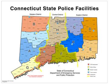 Connecticut State Police Wikipedia - Connecticut state map