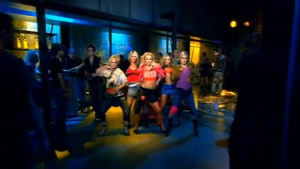 Spears dancing with her friends in the music v...