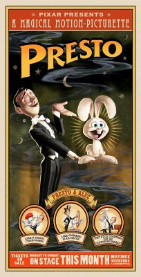 "Movie poster shows a man in a tuxedo holding a smiling rabbit in one of his hands, while the other is raised as if to present the rabbit to an audience. Text at the top of the image states ""Pixar Presents A Magical Motion Picturette"", followed by the film's title. Near the bottom of the image, is three circles, each containing scenes from the short film."