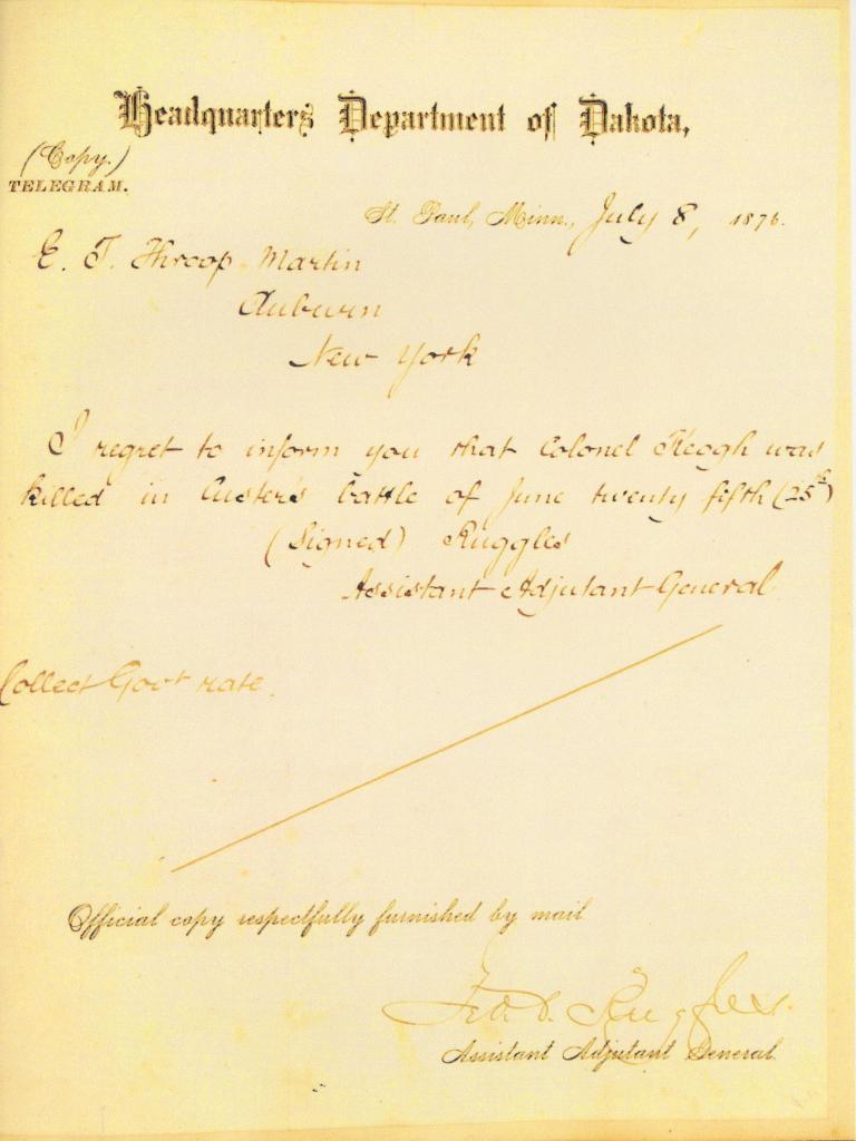 filetelegram informing death of myles keogh wikipedia